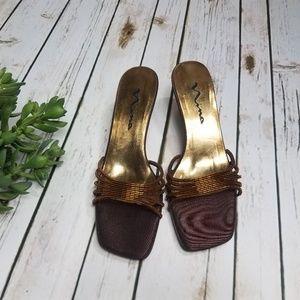 Nina Heels Nexus Beaded Slip On Shoes Open Toe NEW